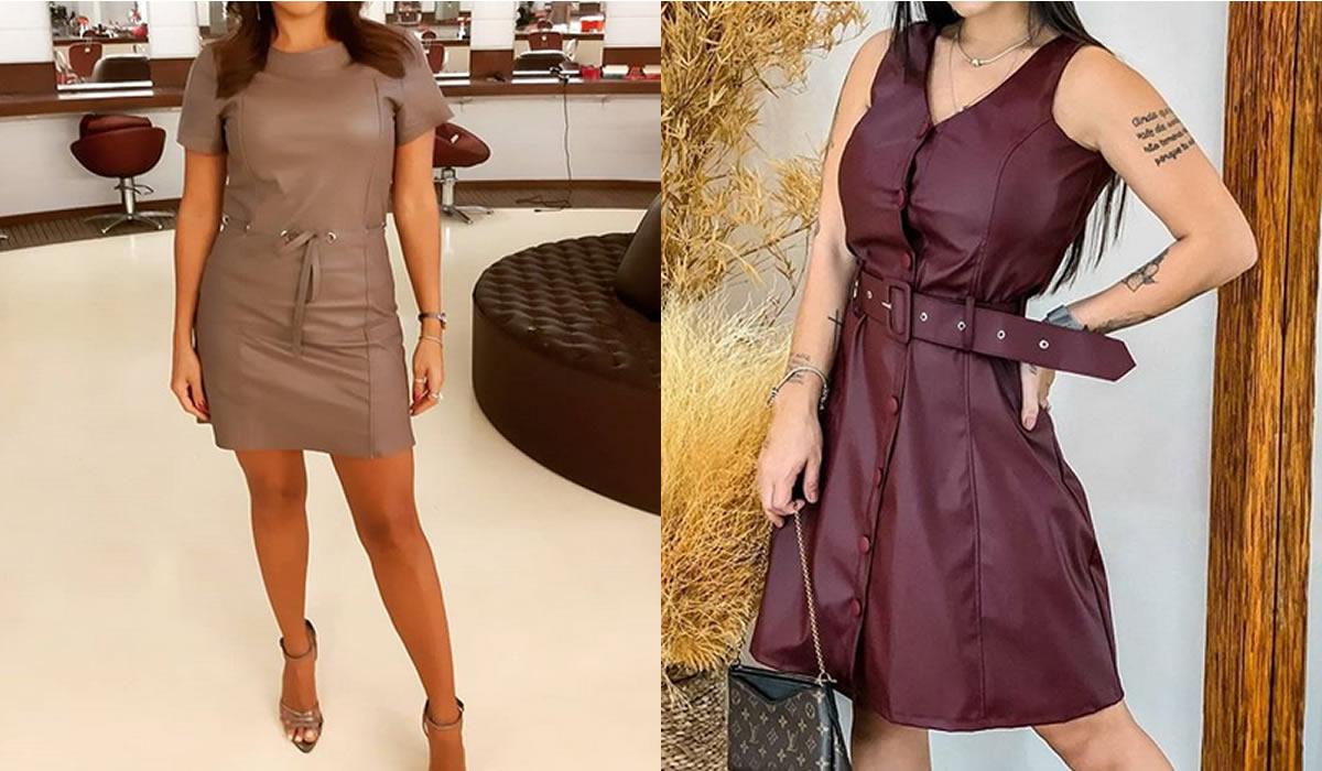 vestidos em couro dicas e inspiracao look